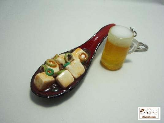 麻婆豆腐とビールのキーホルダー
