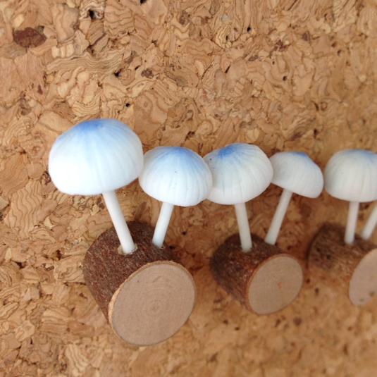 粘土のきのこ 青いきのこのプッシュピン