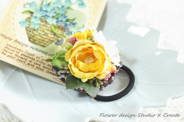 幸せ色の黄薔薇のヘアゴム(Mサイズ)