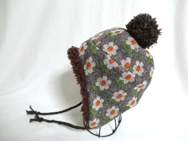 レトロ花柄ジャガードニット耳あて帽子52 セール