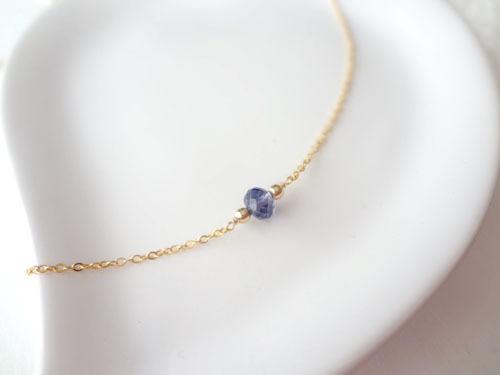 【14KGF】宝石質アイオライトのプチネッ...