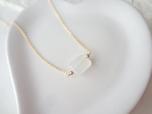 【14KGF】ホワイトジェードのネックレス