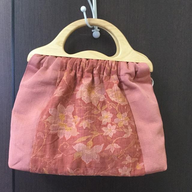 帯地リメイクの手さげバッグ(ピンク)