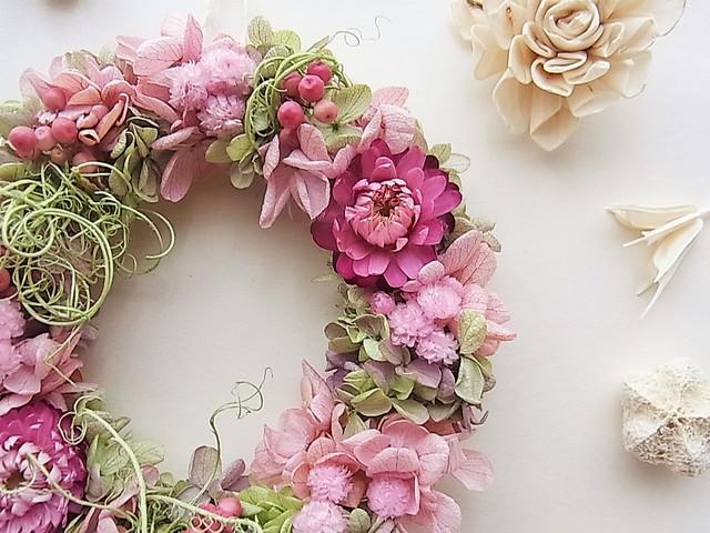 ヘリクリサムと紫陽花のリース チェリ...