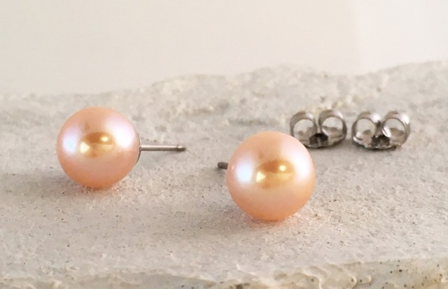 Orangy Pink Pearl チタンピアス/スタ...