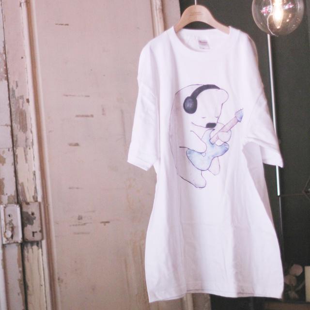くまギターTシャツ:ホワイト