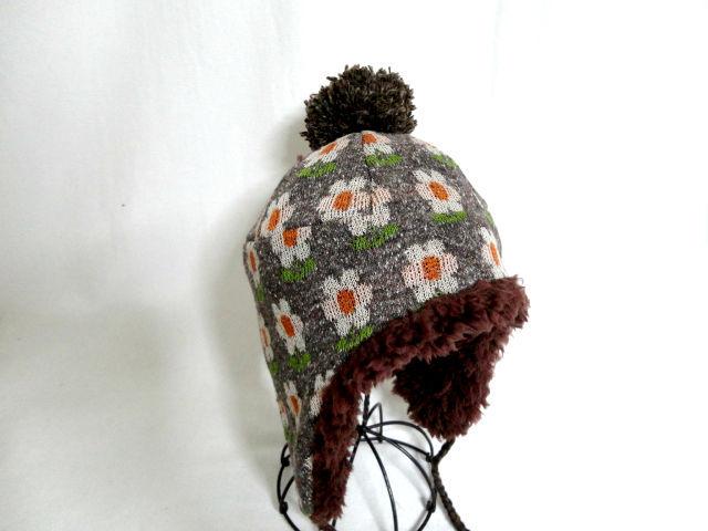 レトロ花柄ジャガードニット耳あて帽子54 セール