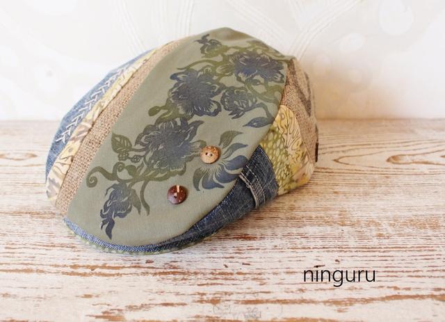 青い花 淡いカーキデニムのハンチング(...