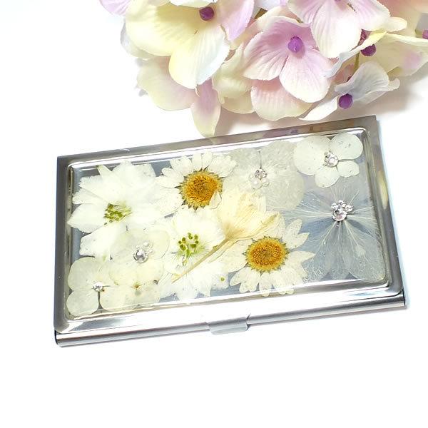 *白い押し花のカードケース(名刺入れ...