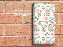 【全機種対応】ビンテージ風なバラ柄がおしゃれ♪手帳型スマホケース☆04
