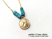 Turquoise & Coin ネックレス