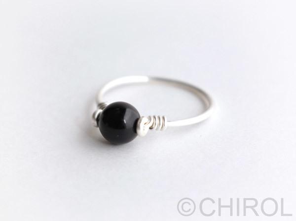 黒水晶 リング/ SV925