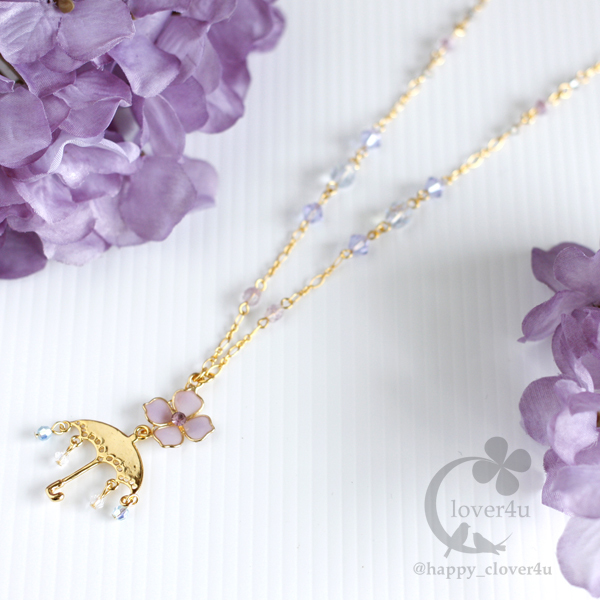 雨の日の紫陽花ネックレス・B/n342