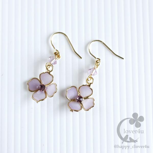 紫陽花(あじさい)のシンプルピアス/p569