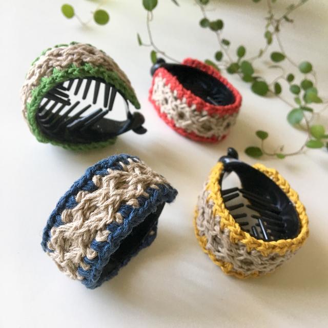 麻糸を編んだテールクリップ