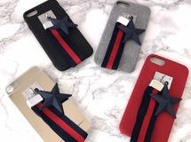 4タイプ★ネイビー×レッドのリボンストラップ&スター iPhoneケース