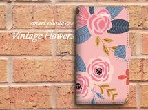 【全機種対応】ビンテージ風なバラ柄がおしゃれ♪手帳型スマホケース☆P01