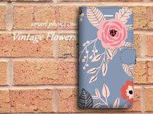 【全機種対応】ビンテージ風なバラ柄がおしゃれ♪手帳型スマホケース☆N01