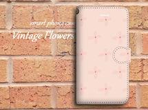 【全機種対応】ビンテージ風な花柄がおしゃれ♪手帳型スマホケース☆P06