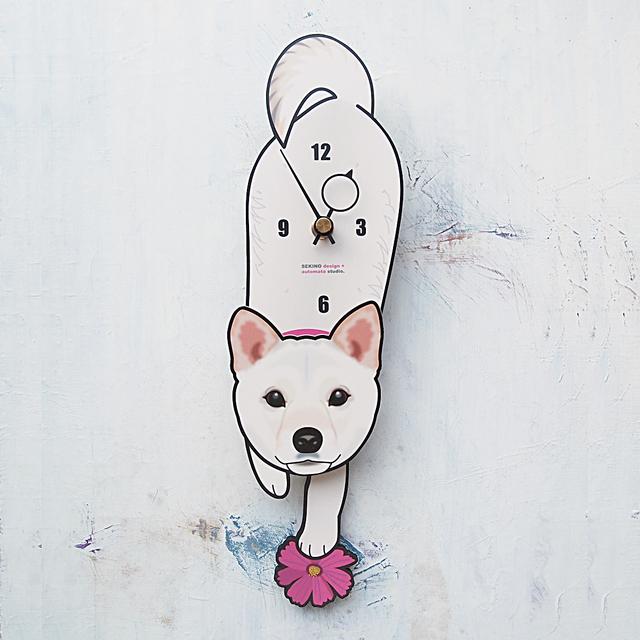D-133 白柴-犬の振子時計