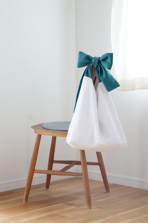 ★new★綿麻リボンのバッグ(グリーン)