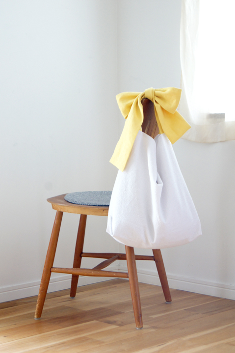 ★new★綿麻リボンのバッグ(イエロー)