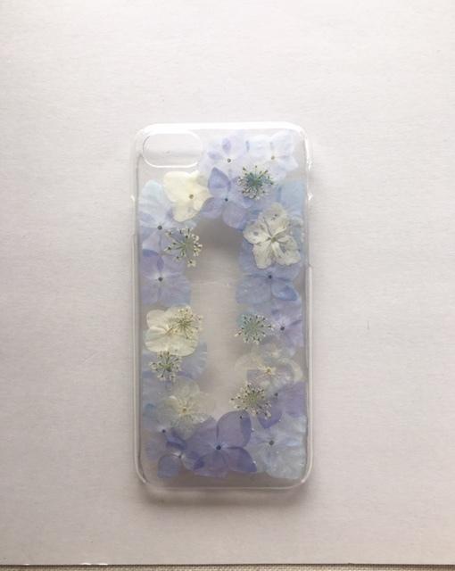 iphone7/6/6s用 紫陽花の押し花スマホケ...