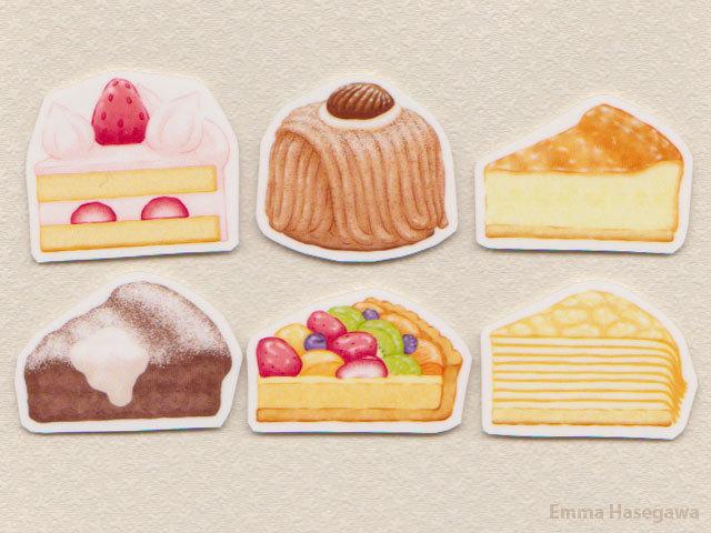 はがせるミニ・ステッカー★ケーキセット