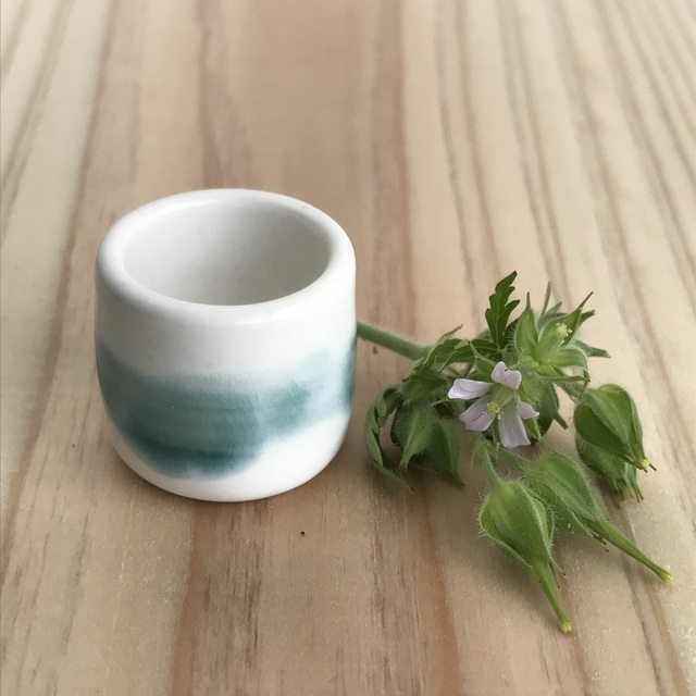 ミニチュア陶器☆花入 緑雲
