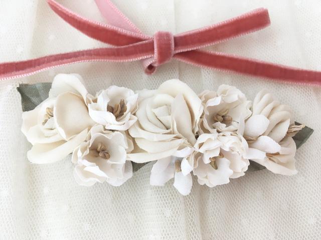 白薔薇のロマンティックバレッタ 木香薔薇