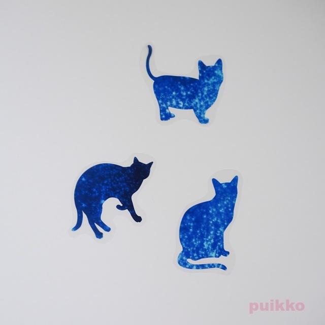宇宙柄の猫 透明ステッカー ハンドメイドマーケット Minne