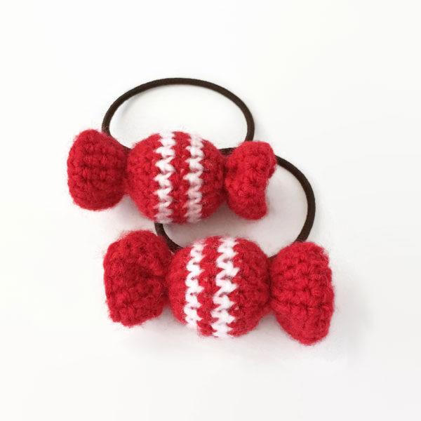 キャンディのヘアゴム 赤×白(2個セット)
