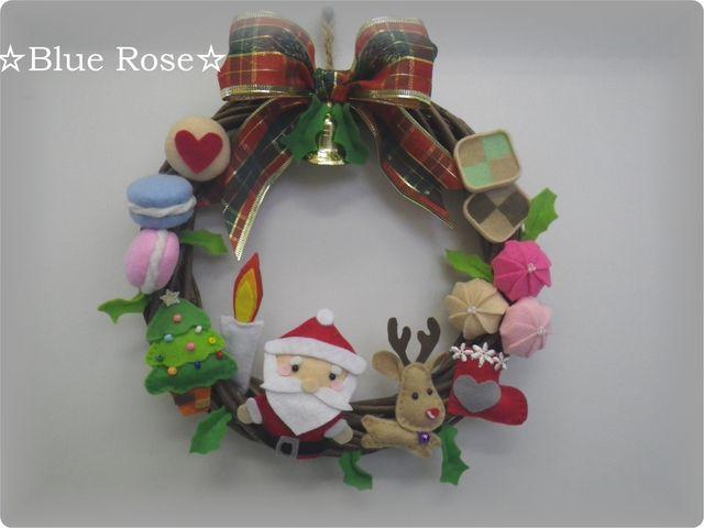 2014♪25cmクリスマスリース☆フェルト♪サンタさんと♪