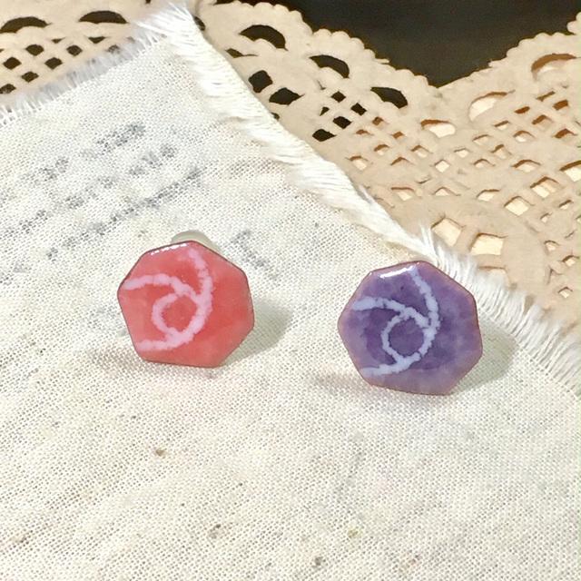 ローズピアス(サンゴ+紫)