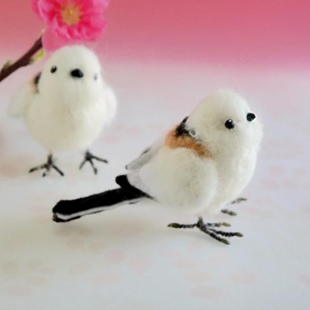 シマエナガ1羽(羊毛フェルトの小鳥)