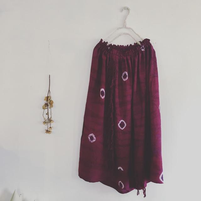 ムラサキ染☆フリンジのスカート(o-sc-...