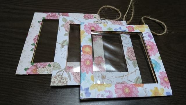 折り紙ミニフレーム(花柄&ストライプ)   ハンドメイド ...