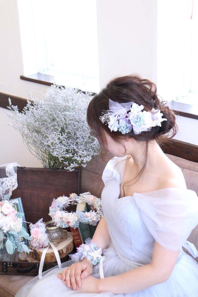 bride * head dress  #103 〔スターフィッシュ×ビジュー×紫陽花ブライダルヘッドドレス〕