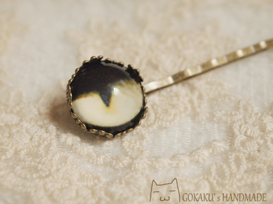 猫目ヘアピン 黒