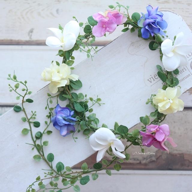 花冠プルメリア&アジサイ(3.YELLOW×11.LILAC×18.BLUE)バックガーランド*エンジェルリーフ