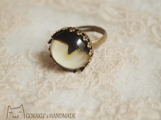 【再販】猫目指輪 黒
