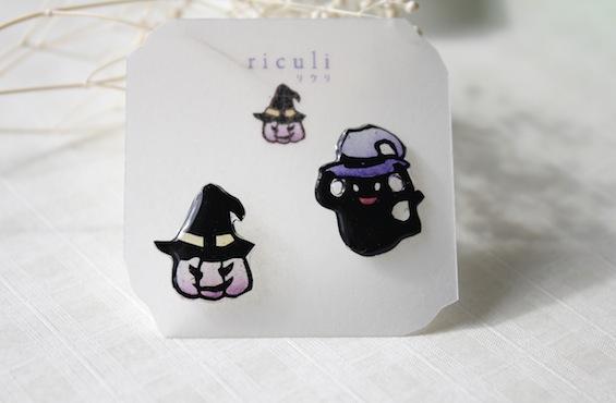 切り絵アクセサリー:ハロウィンのピアス(おばけとかぼちゃ)