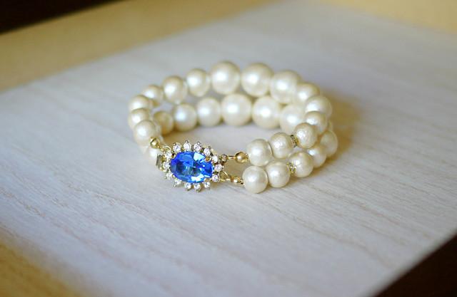 コットンパール2連ブレスレット【Royal blue】