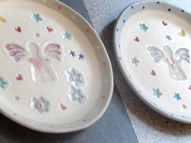ガラス絵のケーキ皿(エンジェル)
