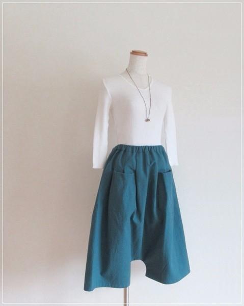 blue green* コットンリネン プチサルエ...