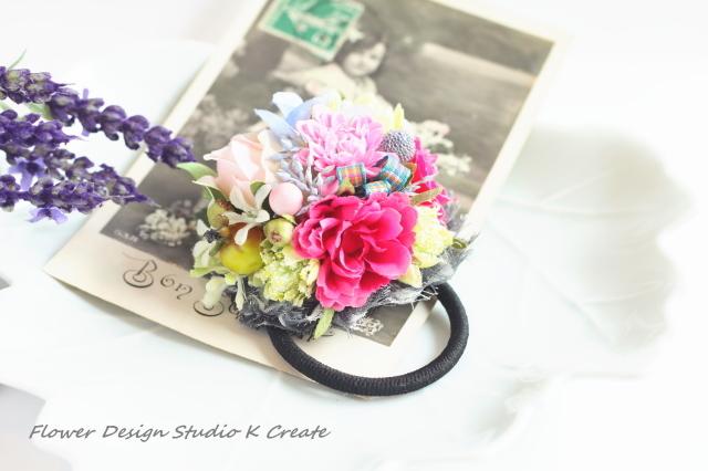 花束の様なお花のヘアゴム(Mサイズ)