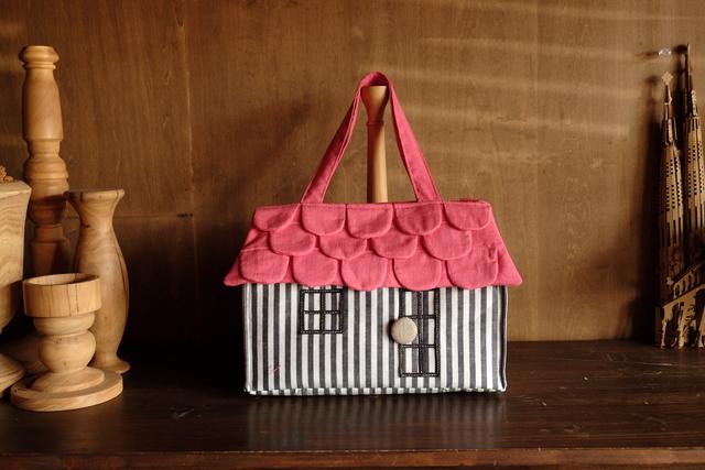 OUCHI box bag L  ストライプ+ピンク屋根