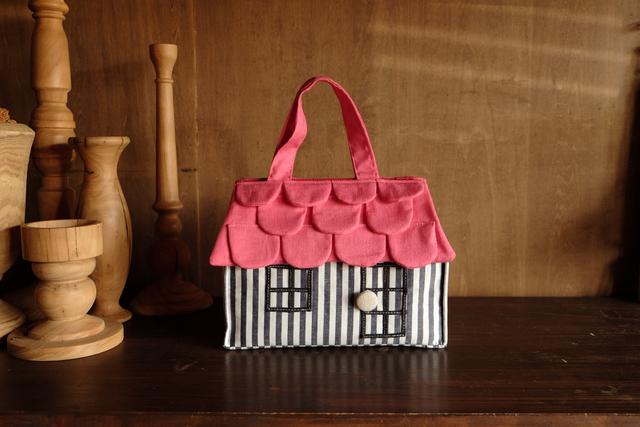 OUCHI box bag S  ストライプ+ピンク屋根