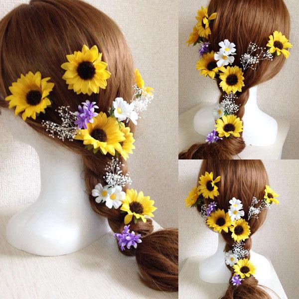 ひまわりとかすみ草、小花のヘッドドレス