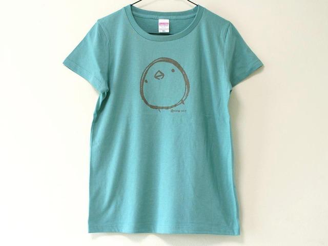 ひよこさんシンプルTシャツ(girls-M)セージブルー